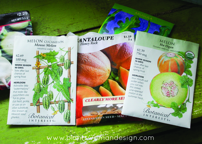 melon seed packages, botanical interests