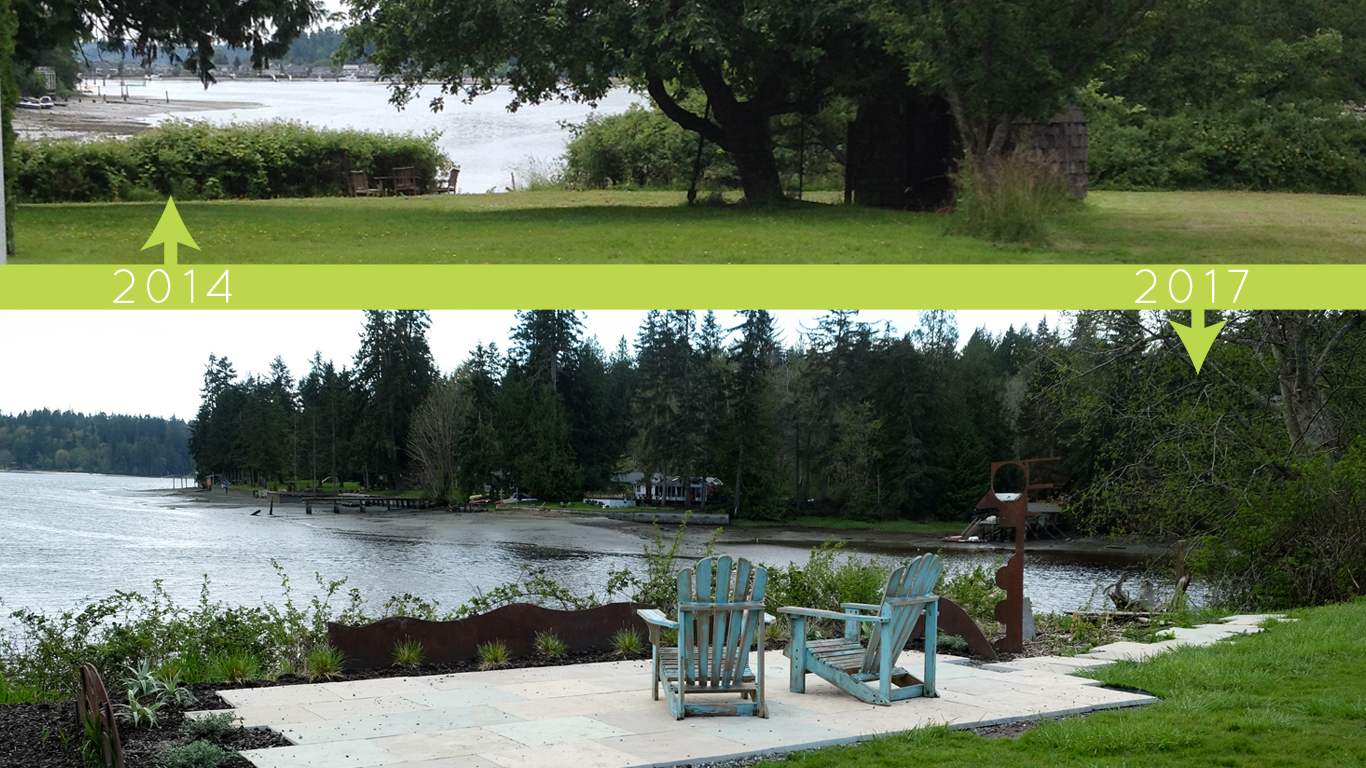 plantswoman design before/after of Beach Road Garden waterfront